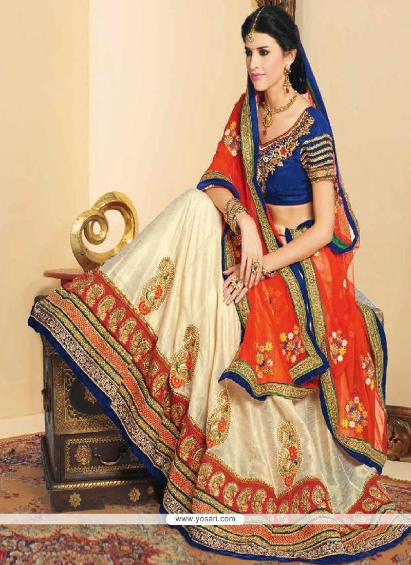 Captivating Cream Velvet Lehenga Choli