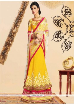 Bedazzling Yellow Georgette Layered Lehenga Choli