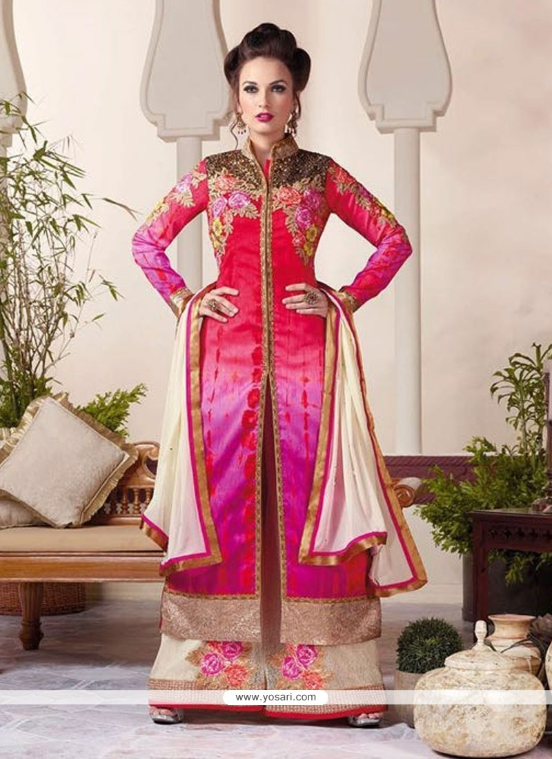 Outstanding Embroidered Work Red Raw Silk Designer Palazzo Salwar Suit