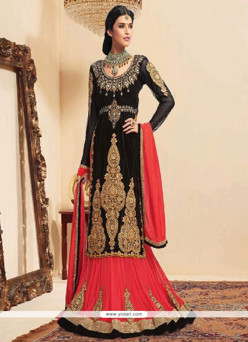 Baronial Black Velvet Long Lehenga Choli