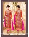 Fabulous Orange Georgette Designer Suit