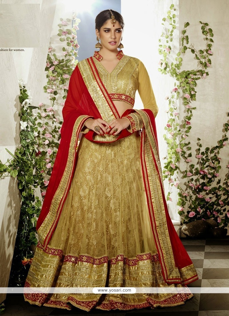 Gold Net And Jacquard Wedding Lehenga Choli