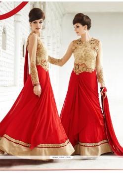 Subtle Red Georgette Designer Suit