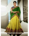 Green And Yellow Art Silk Wedding Lehenga Choli