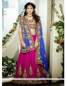 Blue And Gold Net Wedding lehnga Choli