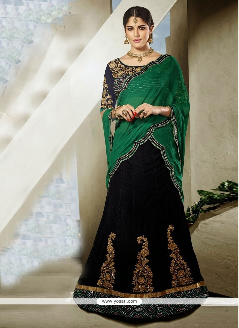 Glowing Black And Green Velvet Party Wear Lehenga Choli
