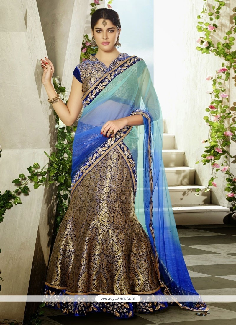 Perfect Blue Velvet Party Wear Lehenga Choli
