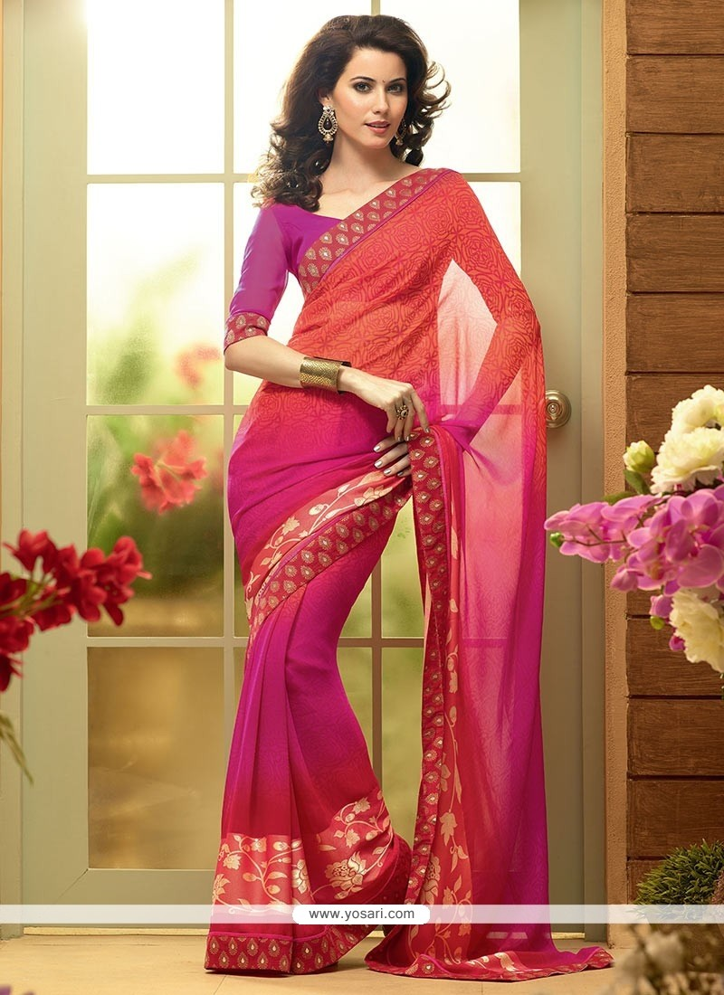 Observable Coral Red And Magenta Shaded Faux Georgette Saree