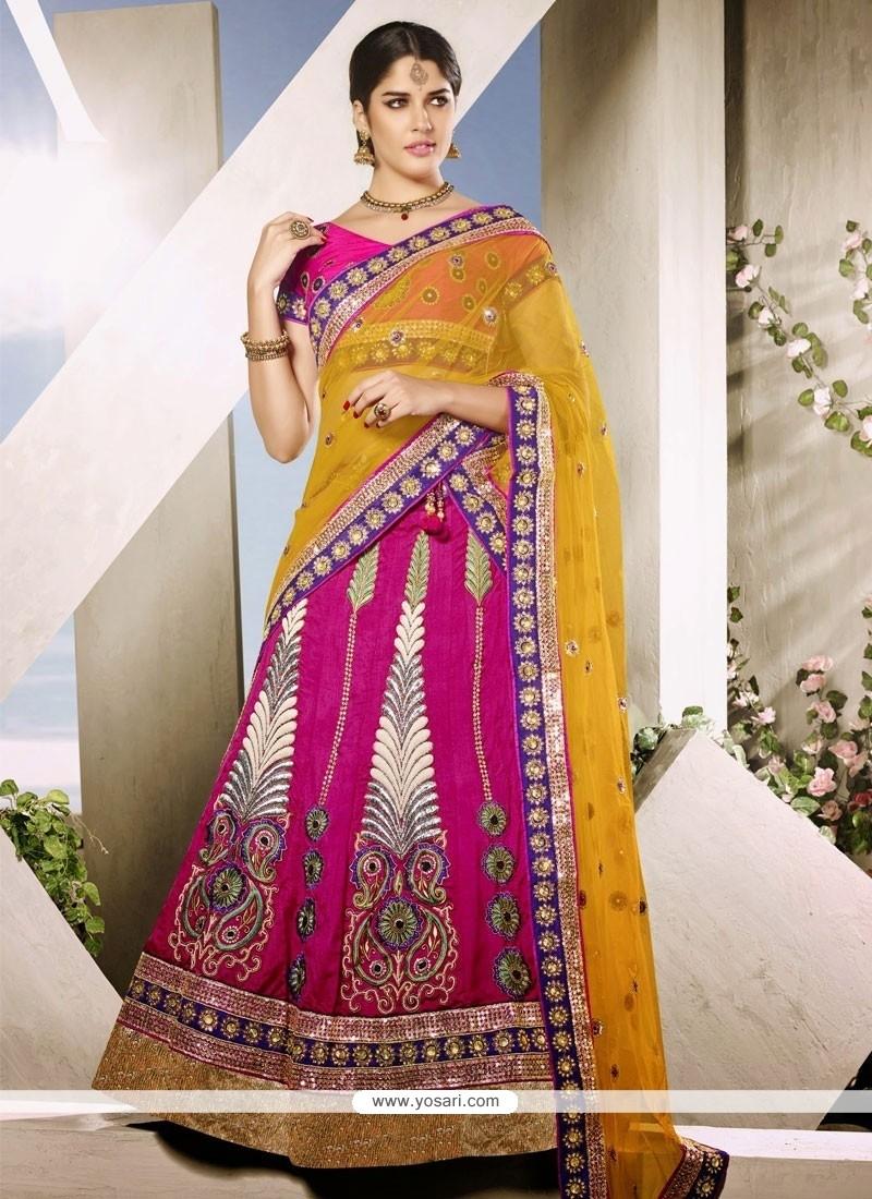 Yellow And Hot Pink Art Silk Wedding Lehenga choli