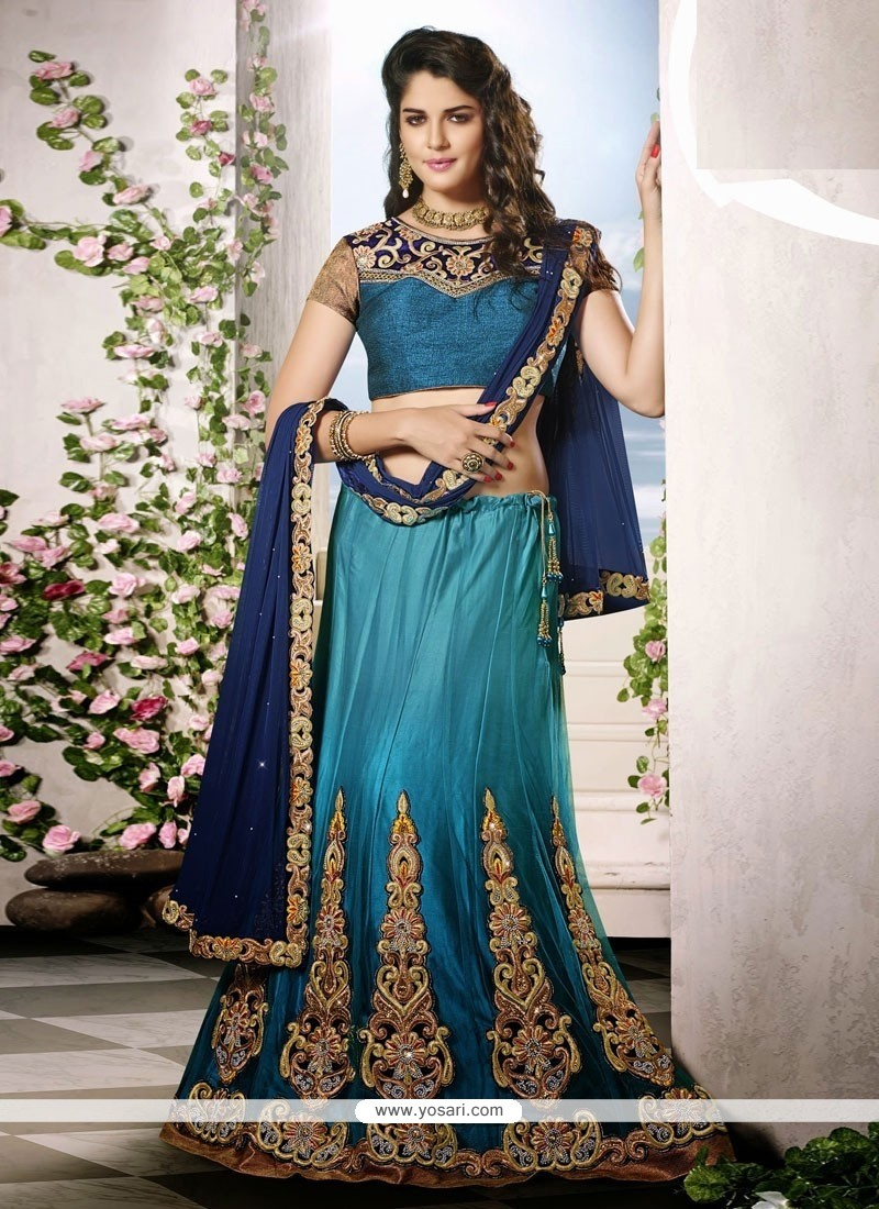 Delightful Teal Net Wedding Lehenga choli
