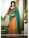 Maroon And Sea Green Net Wedding Lehenga Choli