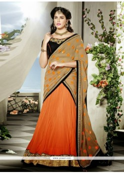 Orange And Beige Net Wedding Lehenga Choli