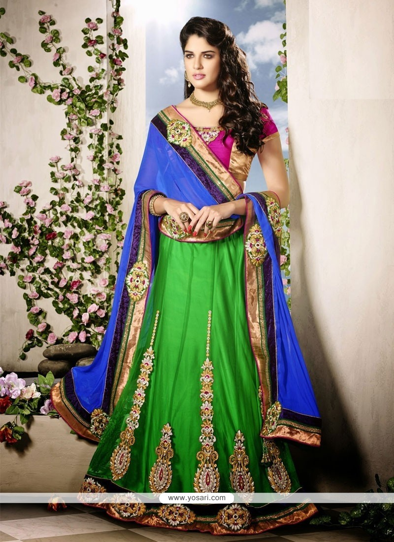 Blue And Green Net Wedding Lehenga Choli