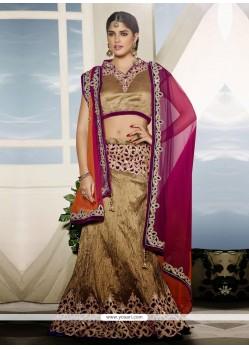 Beige Art Silk Party Wear Lehenga Choli