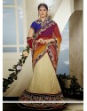 Off White Velvet Patch Net Lehenga Choli