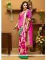 Invigorating Off White And Pink Shaded Faux Georgette Half And Half Saree