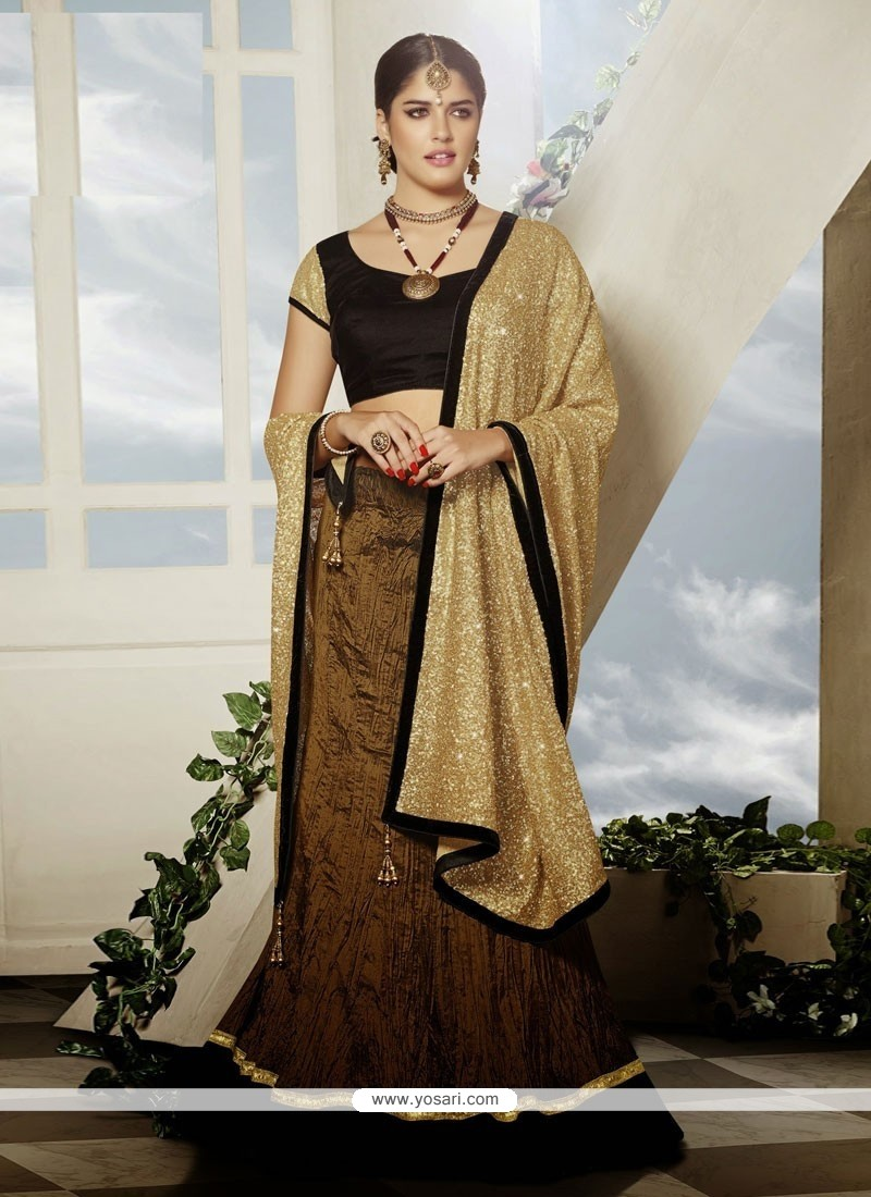 Lovely Brown Art Silk Designer Lehenga Choli