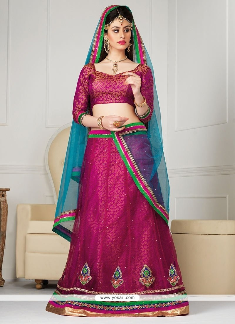 Flawless Magenta Net A-Line Wedding Lehenga Choli