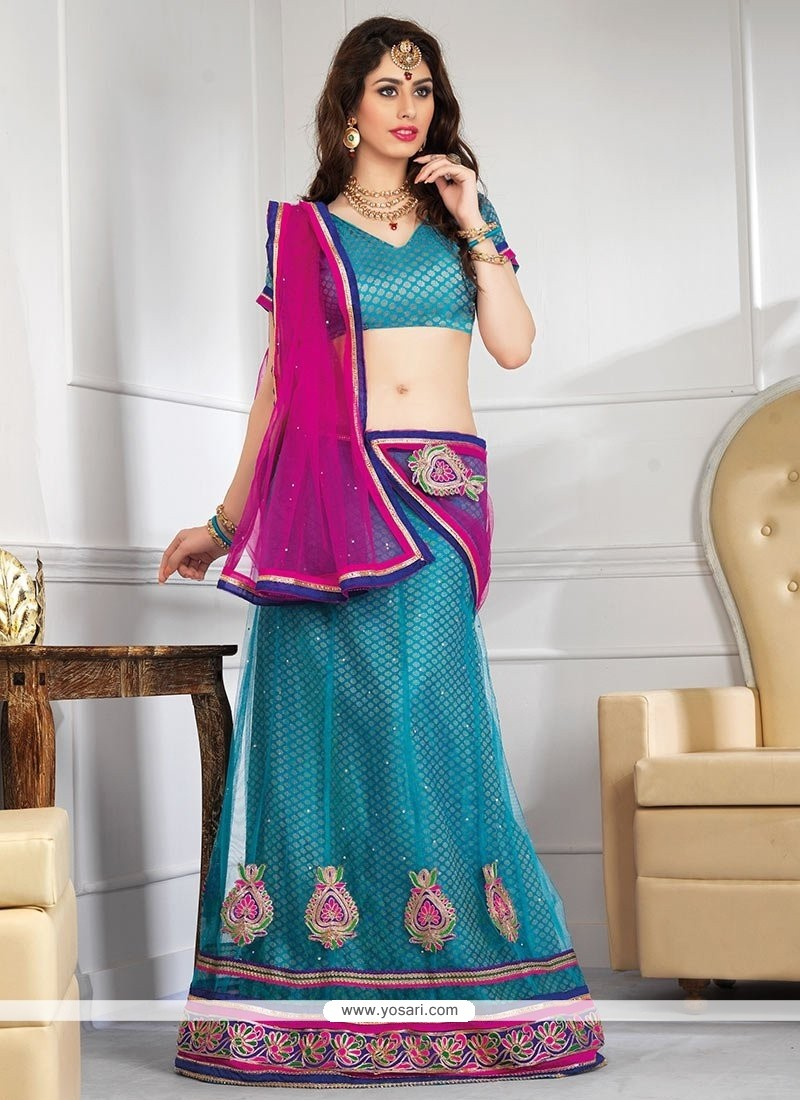 Fascinating Teal Net Resham Lehenga Choli