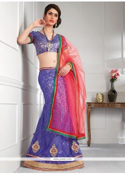 Dazzling Violet Shaded Net Lehenga Choli