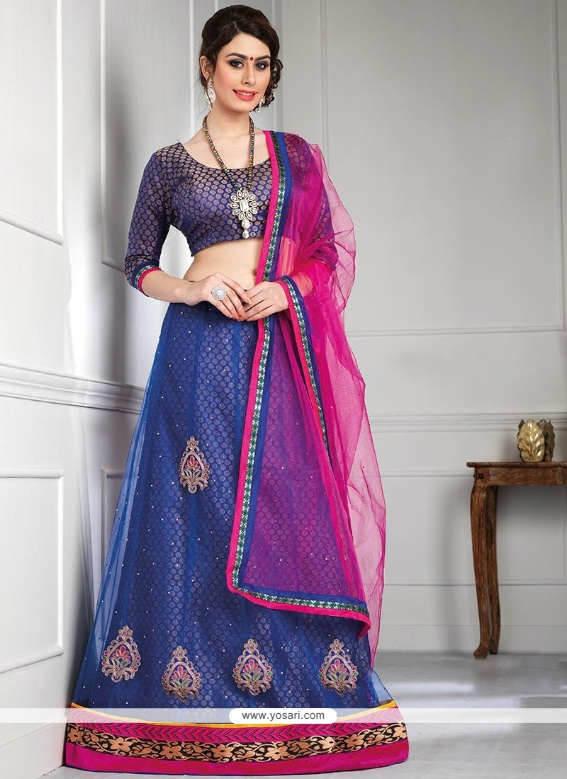 Decent Blue Shade Net A-Line Lehenga Choli