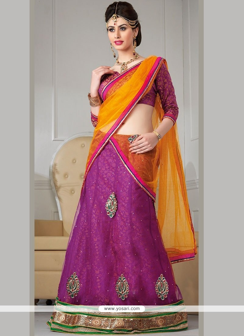 Conspicuous Purple Net A-Line Lehenga Choli