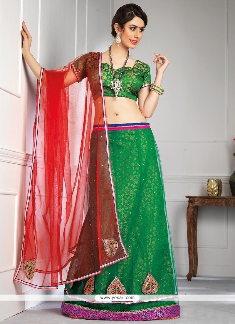 Competent Green Net Lehenga Choli