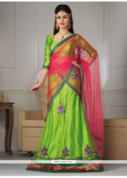 Asthetic Green Net A-Line Lehenga Choli