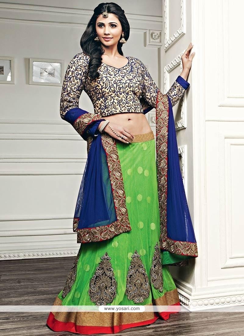 Daisy Shah Green Net Lehenga Choli
