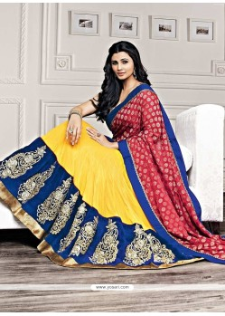 Daisy Shah Yellow Faux Georgette Lehenga Choli