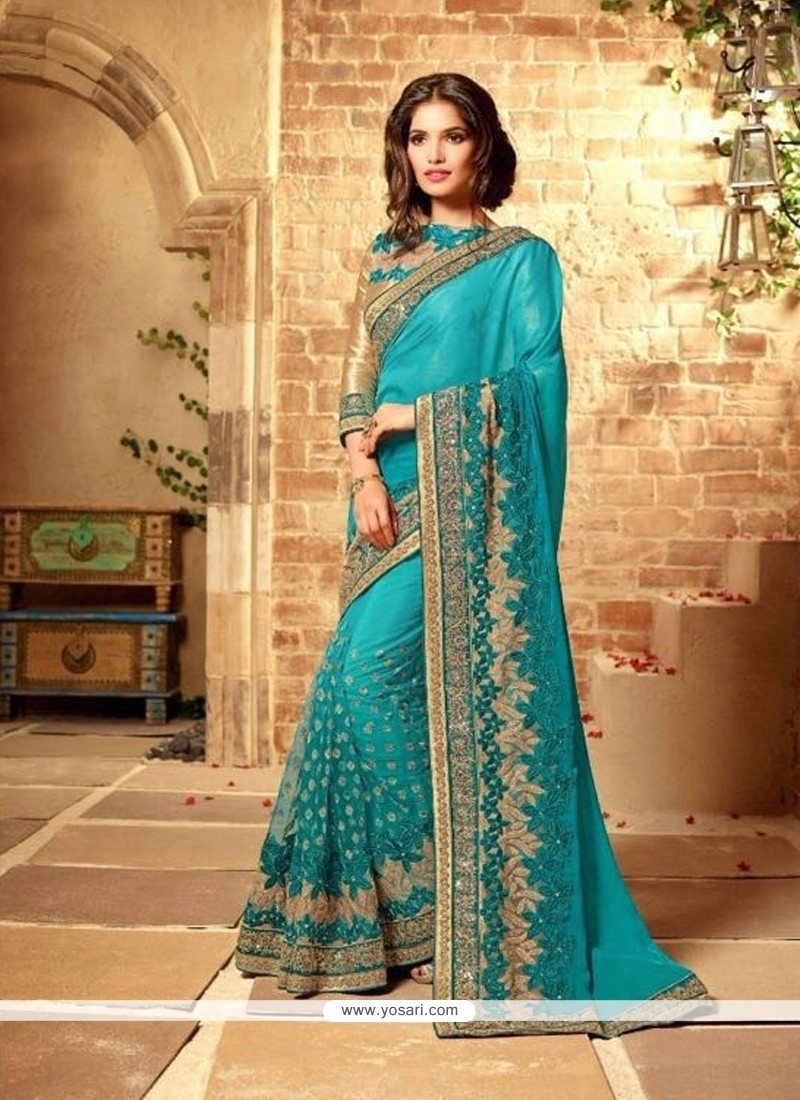 537205c3e6 Shop online Blue Embroidered Work Net Designer Bridal Sarees
