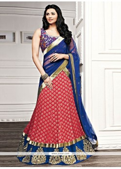 Daisy Shah Blue And Red Georgette Lehenga Choli