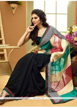 Blooming Black And Multicolor Faux Georgette Saree