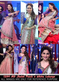 Madhuri Dixit Peach And White Zari Lehenga Choli