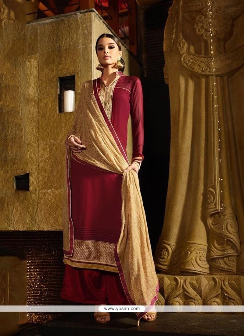 a3c1da6a7f Shop online Fetching Lace Work Georgette Maroon Designer Suit