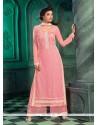 Versatile Resham Work Pink Georgette Designer Suit