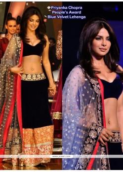 Priyanka Chopra Blue Velvet Resham Lehenga Choli