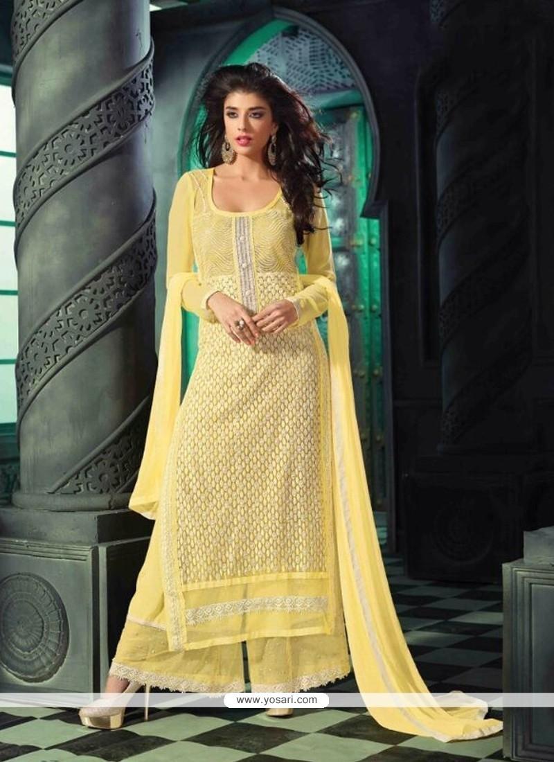 Preferable Yellow Resham Work Designer Suit
