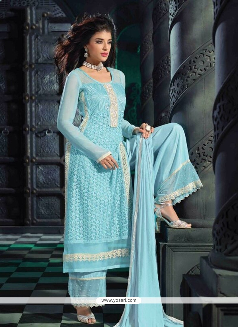 Glitzy Georgette Turquoise Embroidered Work Designer Suit