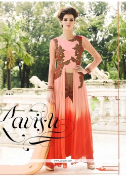Affectionate Georgette Pink Aari Work Designer Suit