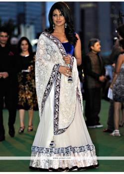 Priyanka Chopra White Faux Georgette Lehenga Choli