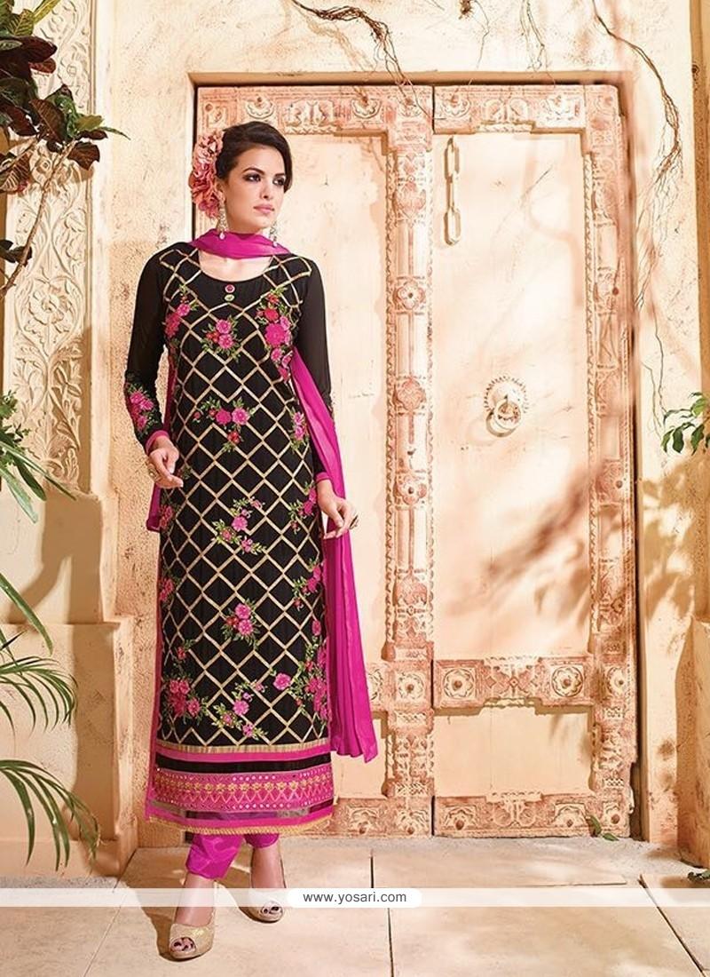 Customary Georgette Black Patch Border Work Designer Suit