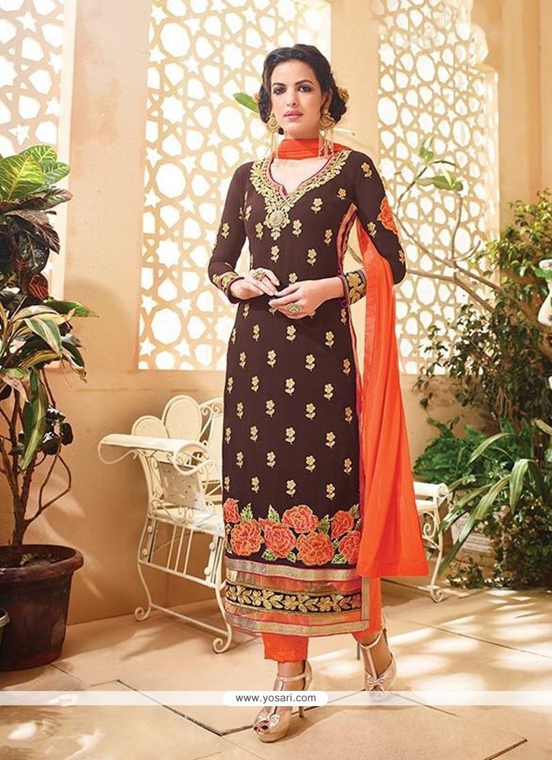 Baronial Georgette Brown Designer Suit
