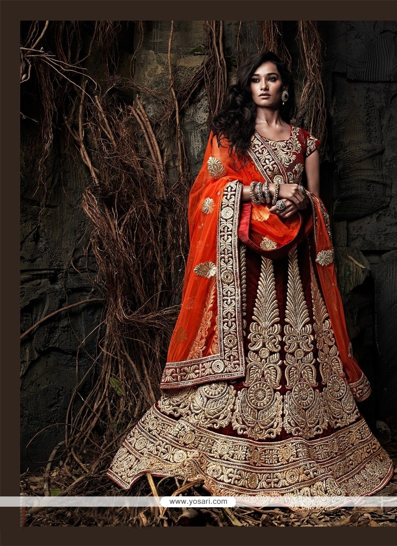 Groovy Orange And Maroon Velvet Bridal Lehenga Choli