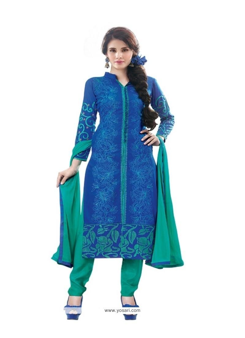 Ravishing Resham Work Cotton Satin Blue Designer Suit