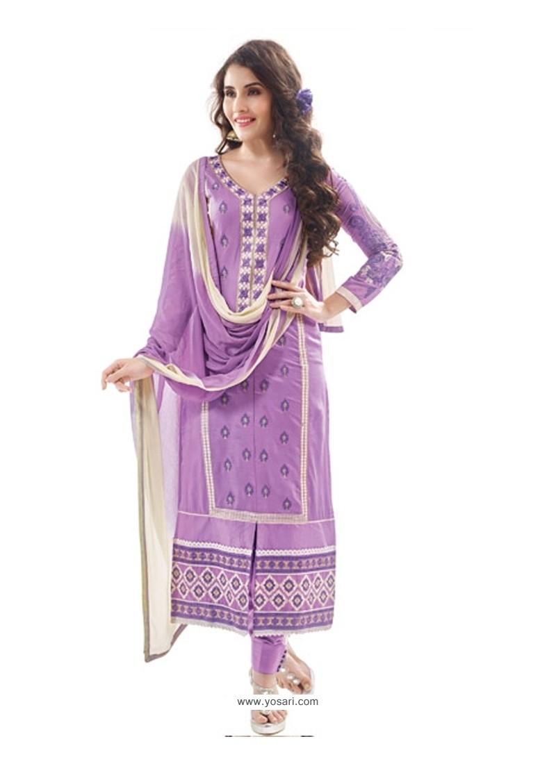 Astonishing Purple Cotton Satin Designer Suit