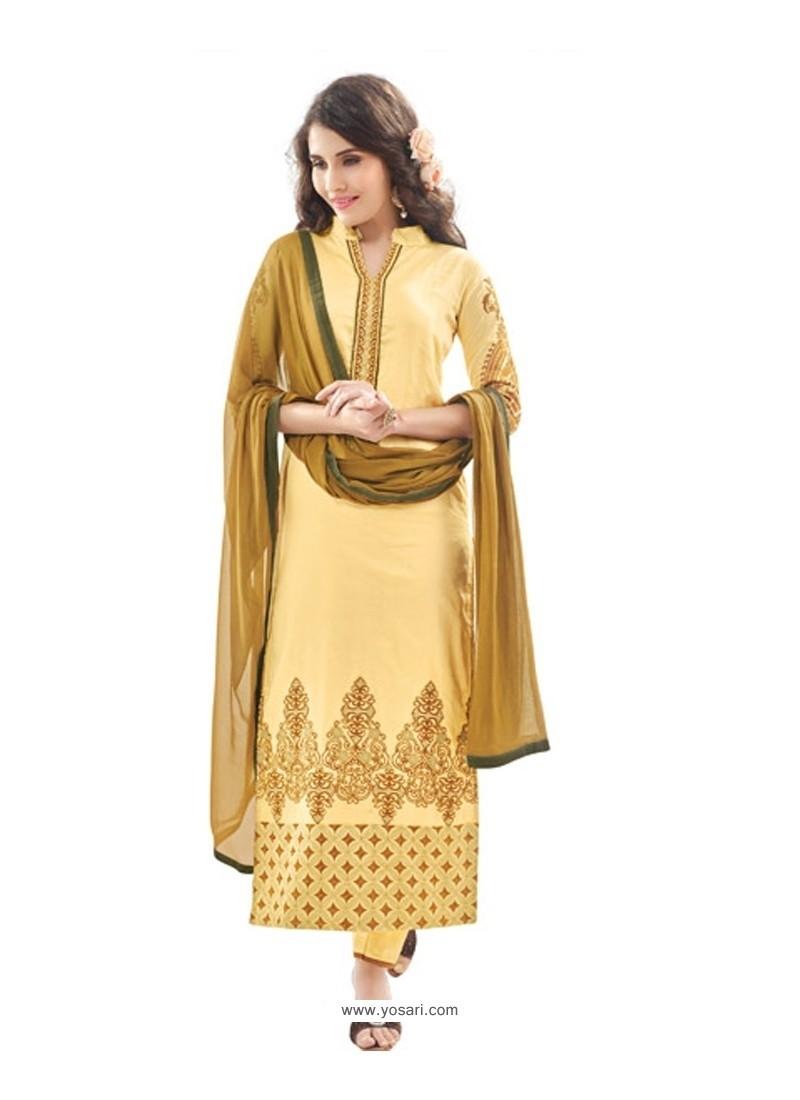 Superb Yellow Cotton Satin Designer Suit