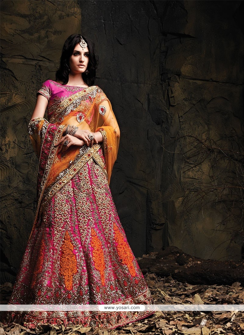 Mustard And Pink Zari Silk Lehenga Choli
