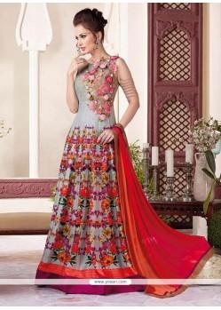 Excellent Raw Silk Resham Work Floor Length Anarkali Suit