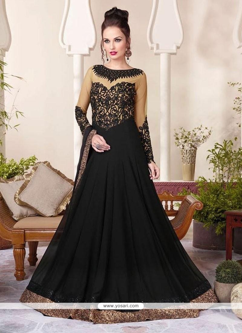 Innovative Black Georgette Floor Length Anarkali Suit